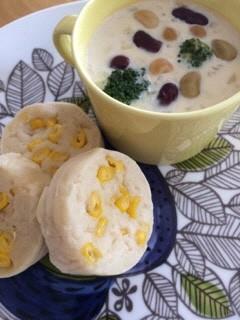 コーン米粉パン/あさりのクリームスープ
