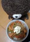 食いつきそうジャッキーの野菜キムチ笹身丼