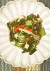 簡単、お弁当◎オクラと長芋の海藻サラダ