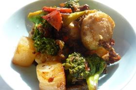里芋と牛肉のソース炒め