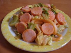 魚肉ソーセージのケチャマヨ焼きうどん