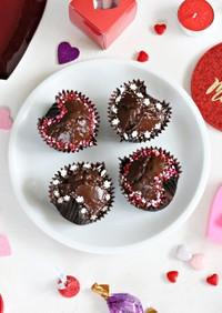 可愛いハート型カップケーキでバレンタイン