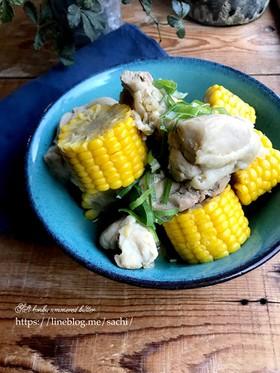 鶏肉ととうもろこしの塩昆布バター煮