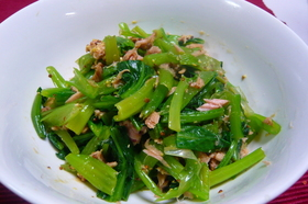 小松菜とツナのマスタードあえ
