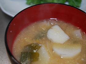長芋と長ネギの味噌汁