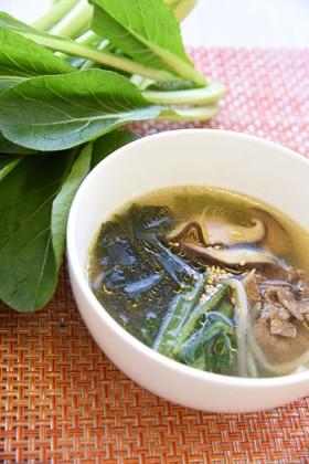 具がいっぱい♪小松菜入りわかめスープ