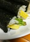 おっさんの冷凍エビ胡瓜葉野菜卵の巻き寿司