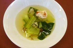 【高齢者】青梗菜とえびのスープ