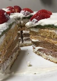 自然色のレインボーケーキ