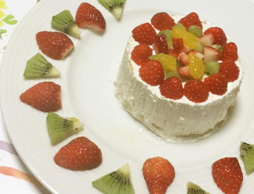 ローソンのロールケーキで♪時短デコケーキ