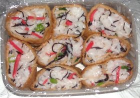 ひじき&切り干し大根&菜の花入り稲荷寿司