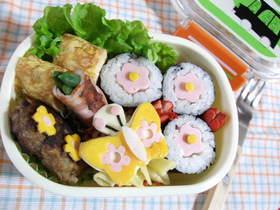 おさかなソーセージでお花海苔巻き弁当