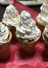 ソフトクリーム風、可愛いカップケーキ。