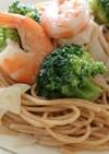 ブロッコリーと海老のクリームスパゲッティ