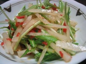 カリカリ梅で☆大根と水菜の彩りサラダ