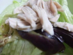 簡単蒸し鶏、なすのサラダ