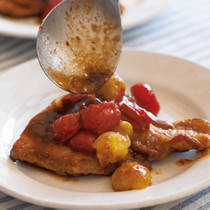 豚厚切り肉とトマトのバルサミコソテー