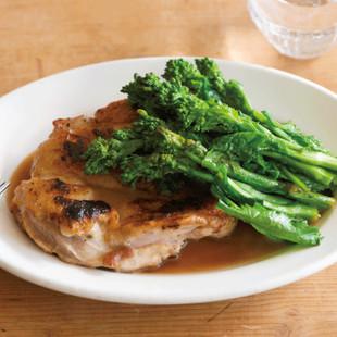 鶏もも肉と菜の花のバター照り焼き