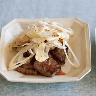 牛サイコロステーキとねぎの七味焼き