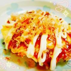 白菜でお好み焼き☆もち明太チーズ☆