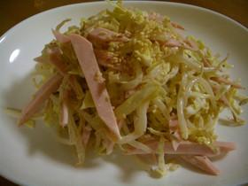 キャベツともやしと魚肉ソーセージのサラダ