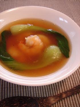 チンゲン菜とエビの中華スープ