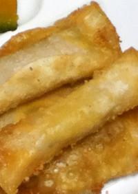 インゲン×ハム×チーズの餃子の皮包み揚げ