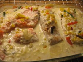 鮭のセイヨウワザビソース焼き