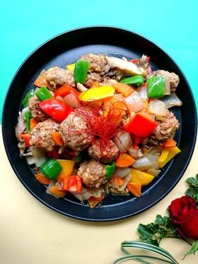 大豆肉団子と野菜の酢醤油炒め