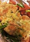 簡単☆アスパラとソーセージのチーズ焼き