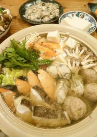 寄せ鍋→キムチ鍋★肉と魚介の共演でコク旨