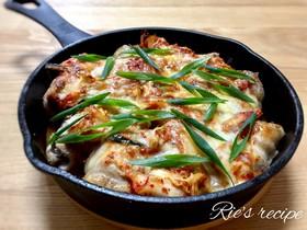 我が家の定番♡肉巻き豆腐キムチーズ焼き♡