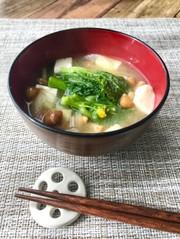 春の味噌汁*菜の花*の写真