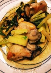 冷凍牡蠣とセロリのイタリアン炒め