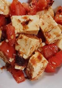 豆腐とトマトのめんつゆ鰹節サラダ
