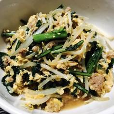 簡単♪ひき肉と春菊の卵とじ丼
