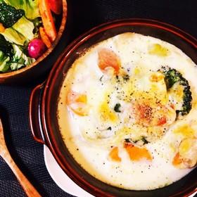 野菜たっぷり♡豆乳スープグラタン