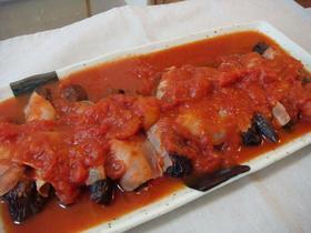 ◆3つだけ!生ハム&なすの簡単トマト煮◆