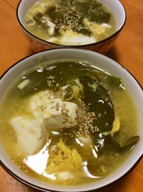 めかぶと豆腐の酸辣湯スープ