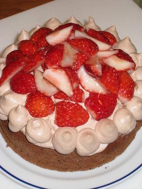 フルーツ&チョコレートのケーキ