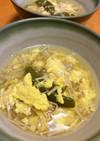 榎茸とスナップエンドウの鶏ガラ卵スープ