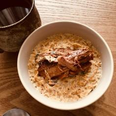 簡単レンジ朝食/さんま缶和風オートミール