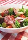ベビーリーフとソフトサラミのサラダ