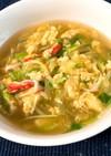 キャベツと水菜の卵スープ
