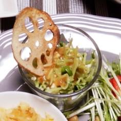 豆腐と豆苗のサラダ