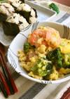 海老とブロッコリーのふんわり中華卵炒め