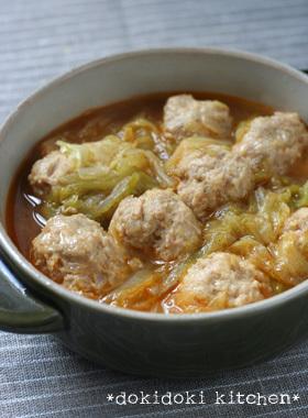 肉団子とキャベツのピリ辛スープ煮