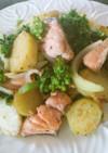 生鮭とポテトと菜の花の粒マスタードソテー