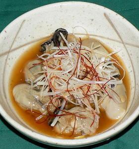生牡蠣の熱々ゴマ油風味
