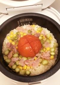 チーズが香る!簡単トマト炊き込みごはん
